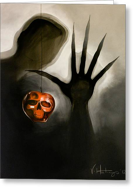 Shadows On Apples Greeting Cards - One Apple A Day Greeting Card by Vikki Hastings