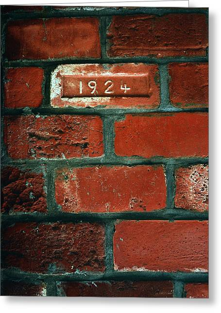 Vintage Brick Greeting Cards - One Brick To Remember - 1924 Date Stone Greeting Card by Steven Milner
