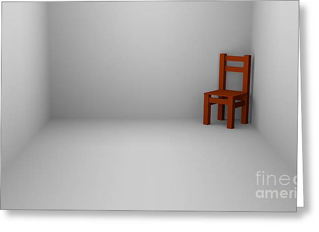 Single-celled Greeting Cards - One Chair In Empty Room Greeting Card by Igor Kislev