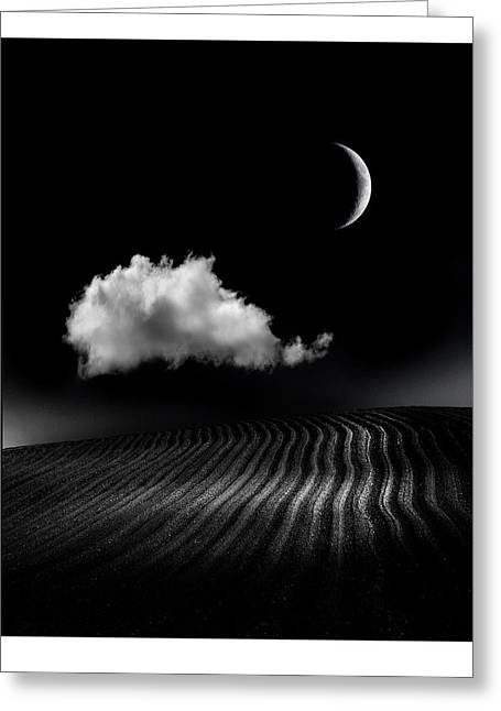 Moonlit Night Greeting Cards - One Cloud Greeting Card by Mal Bray