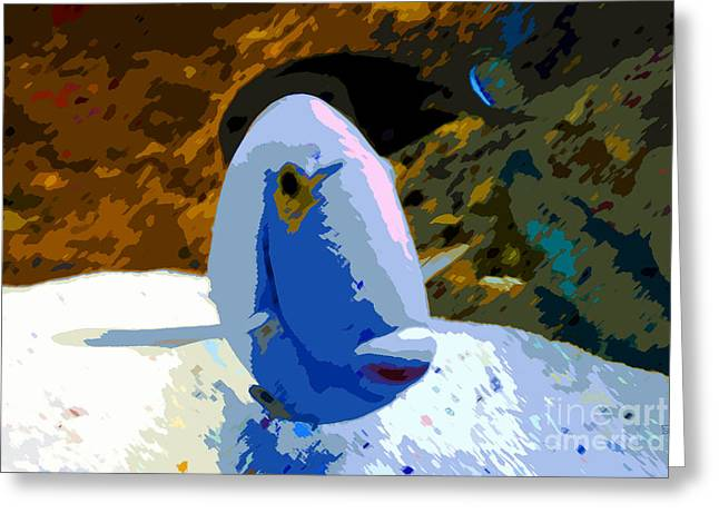 Reef Fish Digital Art Greeting Cards - One colorful fish Greeting Card by David Lee Thompson