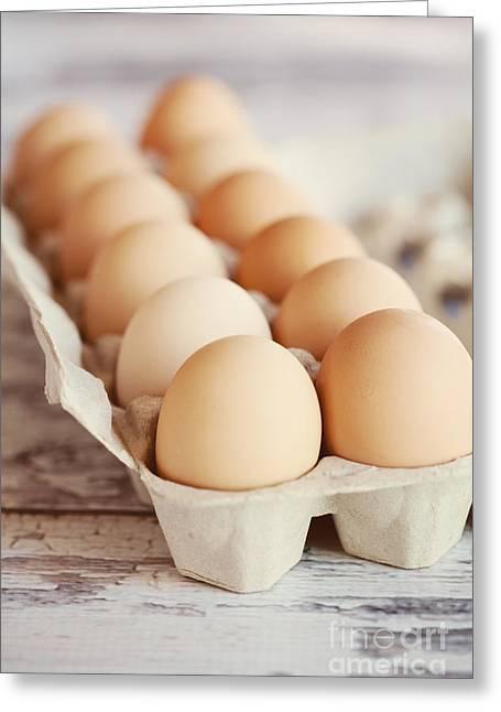 Fresh Eggs Greeting Cards - One Dozen Eggs Greeting Card by Kim Fearheiley