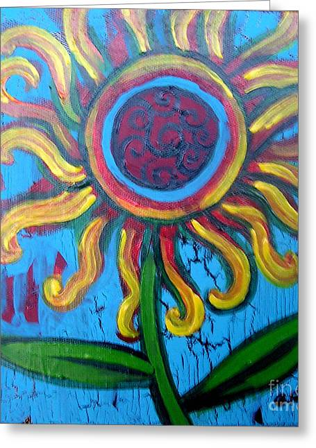 Acrylic On Stretched Canvas Greeting Cards - One Flower Greeting Card by Genevieve Esson