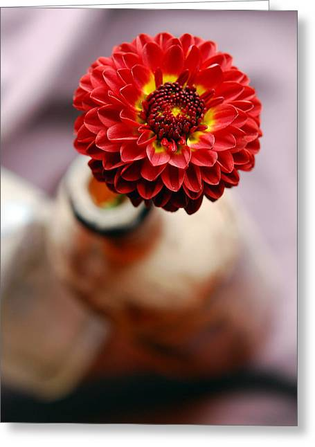 Vase Of Flowers Greeting Cards - One Flower In Old Bottle Greeting Card by Laura Mountainspring