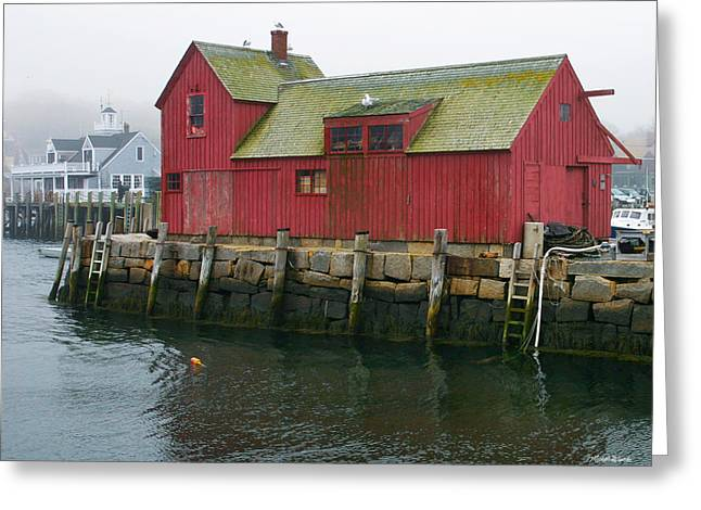 Red Fishing Shack Greeting Cards - One Foggy Afternoon in Spring Greeting Card by Michelle Wiarda
