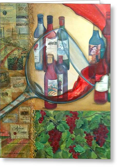 Labelled Mixed Media Greeting Cards - One Glass Too Many  Greeting Card by Debi Starr