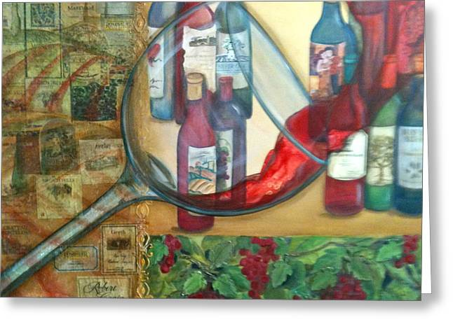 One Glass Too Many  Greeting Card by Debi Starr
