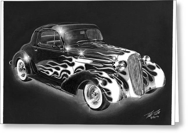 Charcoal Car Greeting Cards - One Hot 1936 Chevrolet Coupe Greeting Card by Peter Piatt