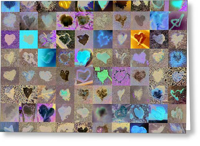Mosaic Greeting Cards - One Hundred and One Hearts Greeting Card by Boy Sees Hearts