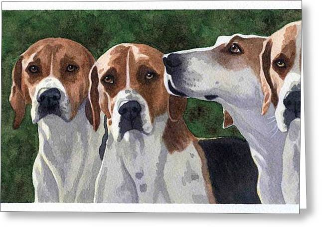 Foxhound Greeting Cards - One in Every Crowd Greeting Card by Debbie Stonebraker