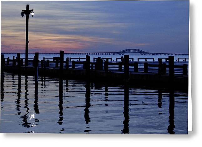Robert Moses Greeting Cards - One Light On and The Bridge Beyond Greeting Card by Vicki Jauron