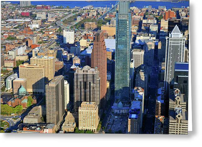 Phillies Art Photographs Greeting Cards - One Logan 1717 Arch Comcast Center Greeting Card by Duncan Pearson