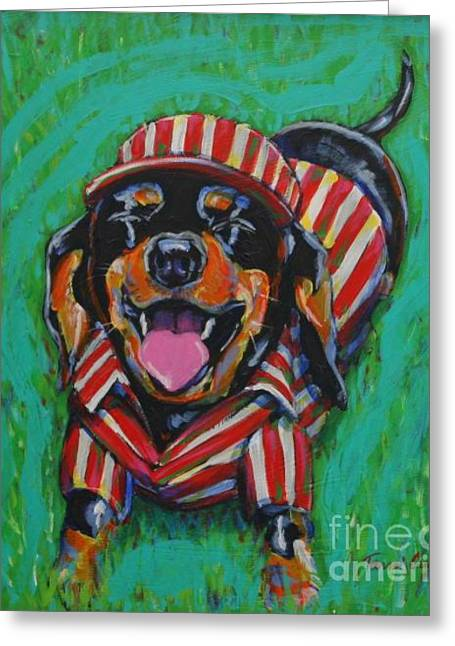 Lucky Dogs Paintings Greeting Cards - One Lucky Dog Greeting Card by Tami Curtis