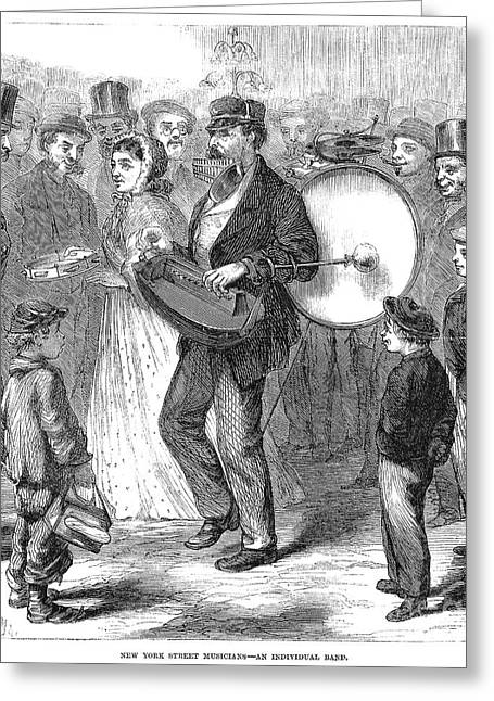 Hurdy-gurdy Greeting Cards - One-man Band, 1867 Greeting Card by Granger