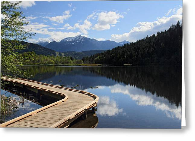 Mile One Greeting Cards - One Mile Lake walkway Pemberton Greeting Card by Pierre Leclerc Photography