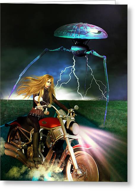 Scifi Greeting Cards - One Night On The Road Greeting Card by Emma Alvarez