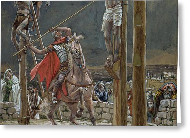 One of the Soldiers with a Spear Pierced His Side Greeting Card by Tissot