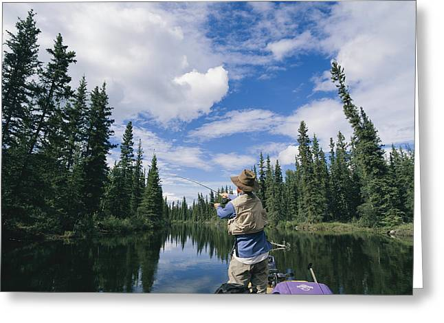 Yukon River Greeting Cards - One Of The Team Fishing On The River Greeting Card by Barry Tessman
