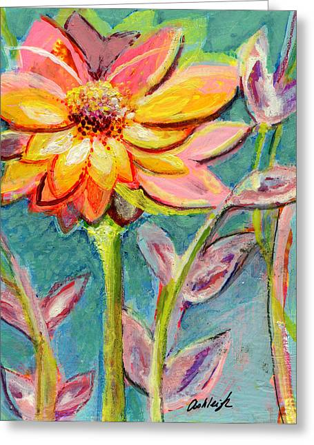 Dream Scape Greeting Cards - One Pink Flower Greeting Card by Ashleigh Dyan Bayer