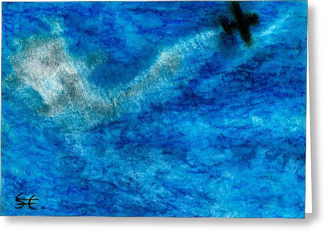 Airplane Pastels Greeting Cards - One Plane Greeting Card by Carla Sa Fernandes