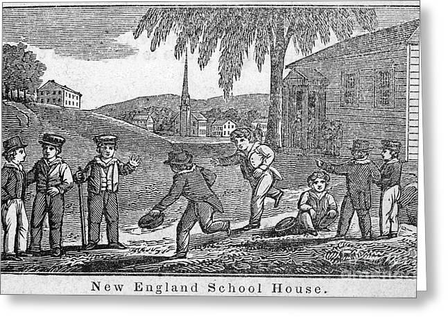 1842 Photographs Greeting Cards - One-room Schoolhouse, 1842 Greeting Card by Granger