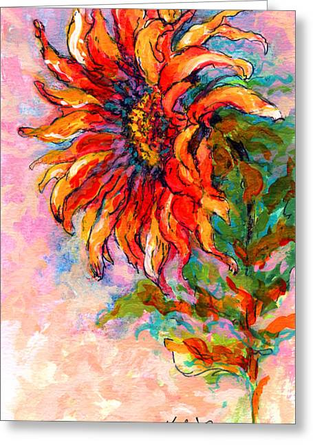 Sunflowers Greeting Cards - One Sunflower Greeting Card by Marion Rose