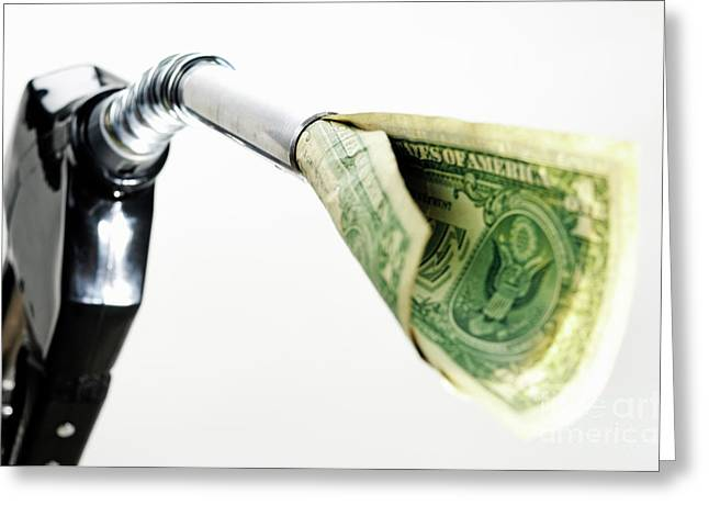Energy Currency Greeting Cards - One US banknote coming out petrol pump nozzle Greeting Card by Sami Sarkis