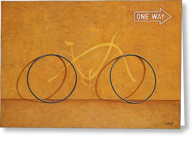 Bicycling Greeting Cards - One Way Greeting Card by Horacio Cardozo
