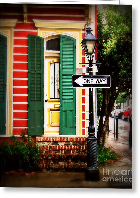 Historical Pictures Greeting Cards - One Way Street Greeting Card by Perry Webster
