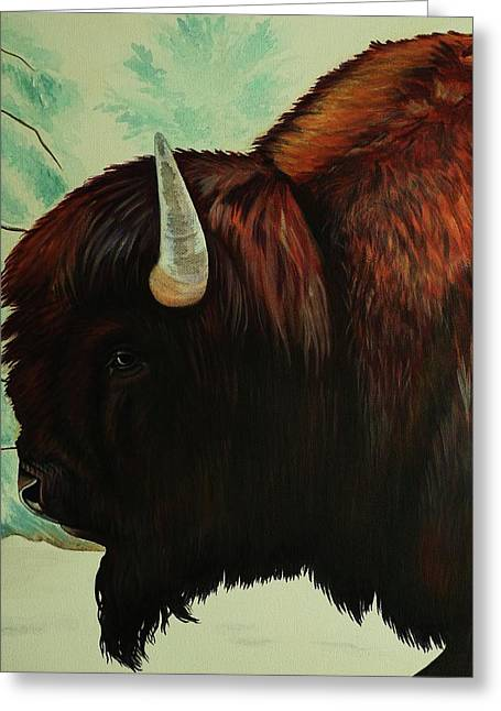 Expressive Native American Indian Greeting Cards - One Wet Bison Greeting Card by Lucy Deane