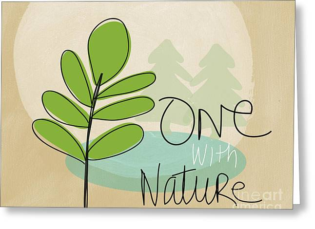 Hiking Mixed Media Greeting Cards - One With Nature Greeting Card by Linda Woods