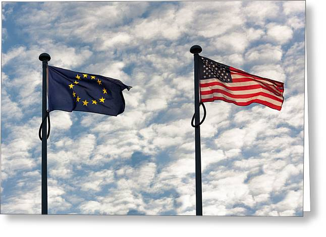 Flags Flying Greeting Cards - One World Greeting Card by Semmick Photo