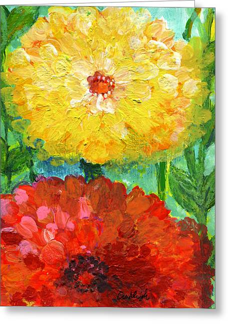 Dream Scape Greeting Cards - One Yellow One Red and Orange Flower Shines Greeting Card by Ashleigh Dyan Bayer