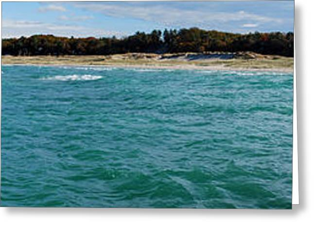 Onekama Pier And Beach Panorama Greeting Card by Twenty Two North Photography