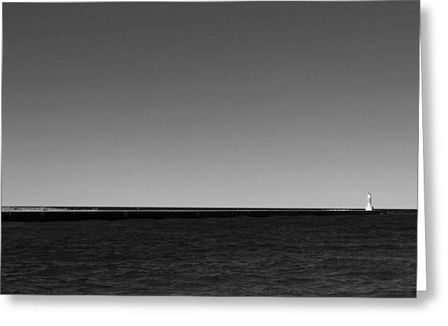 Portage Photographs Greeting Cards - Onekama Pier in Black and White Greeting Card by Twenty Two North Photography
