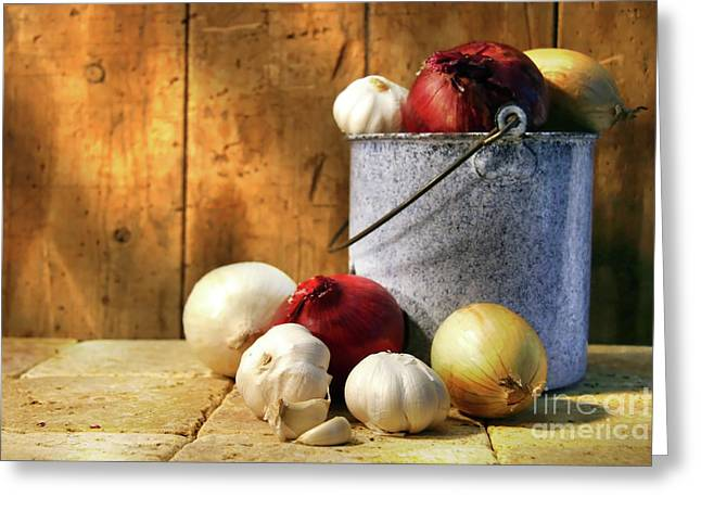 Pungent Greeting Cards - Onion harvest Greeting Card by Sandra Cunningham