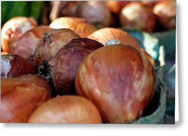 Fresh Food Greeting Cards - Onions at a roadside market Greeting Card by Toni Hopper