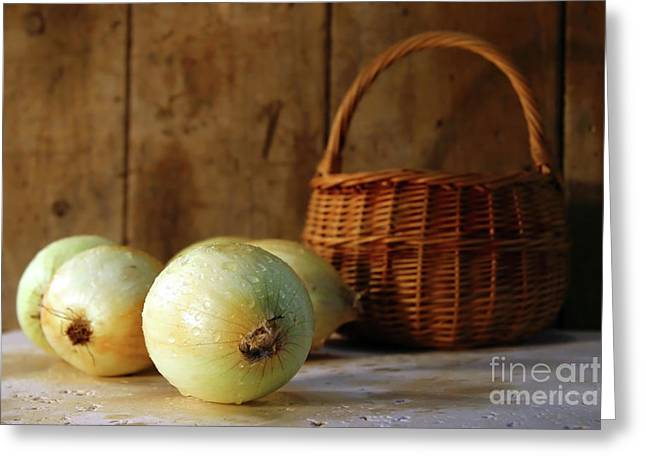 Pungent Greeting Cards - Onions on the counter Greeting Card by Sandra Cunningham