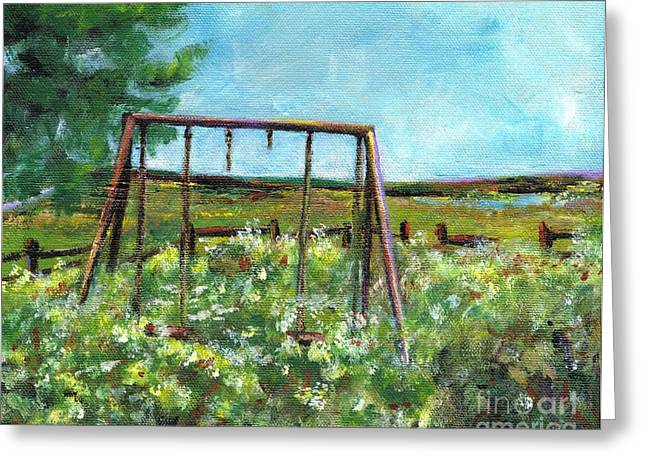 Swingset Greeting Cards - Only The Memories Remain Greeting Card by Frances Marino