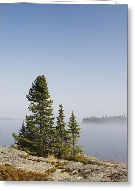 Foggy Day Greeting Cards - Ontario, Canada An Island And Fog Over Greeting Card by Susan Dykstra