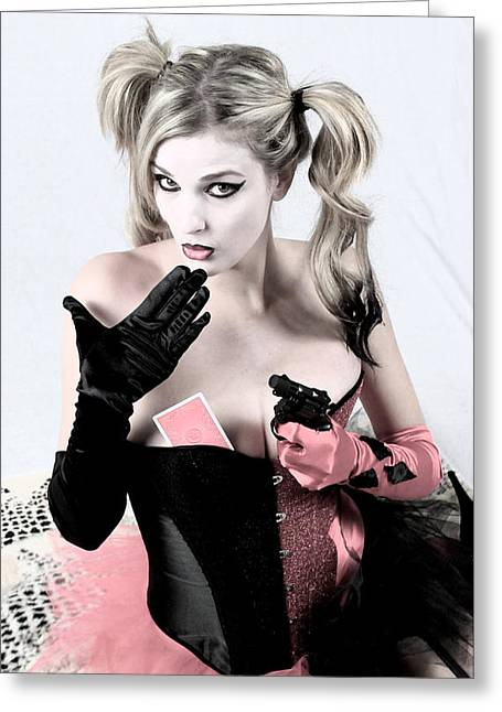 Harley Quinn Photographs Greeting Cards - Oops Greeting Card by Mistie Simone