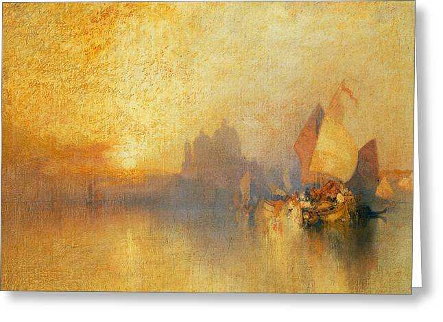 Docked Sailboats Greeting Cards - Opalescent Venice Greeting Card by Thomas Moran