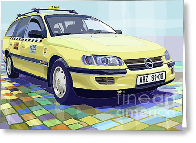 Taxis Greeting Cards - Opel Omega A Caravan Prague Taxi Greeting Card by Yuriy  Shevchuk