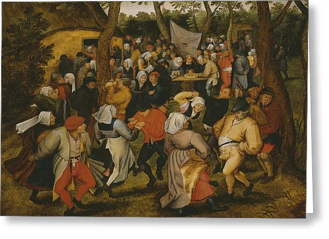 Embrace Greeting Cards - Open air wedding dance Greeting Card by Pieter the Younger Brueghel