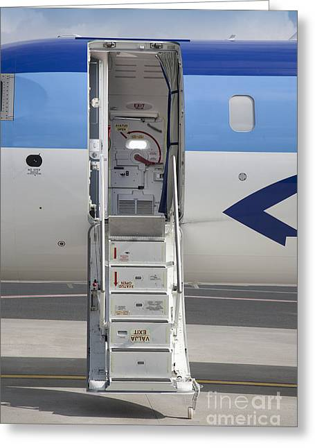 Airline Industry Greeting Cards - Open Airplane Stairs Greeting Card by Jaak Nilson