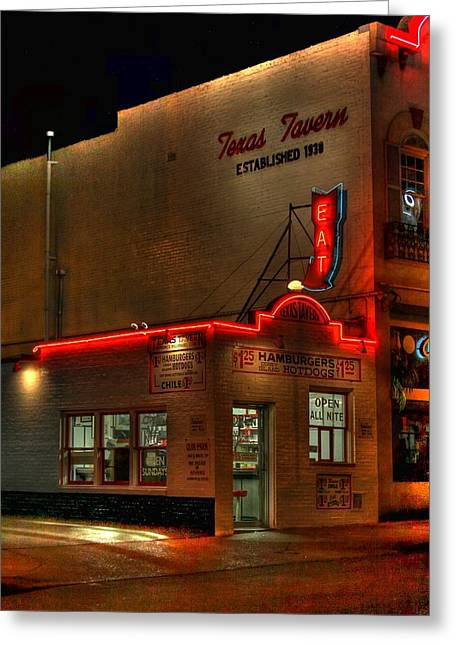 Hot Dog Joints Greeting Cards - Open All Nite-Texas Tavern Greeting Card by Dan Stone
