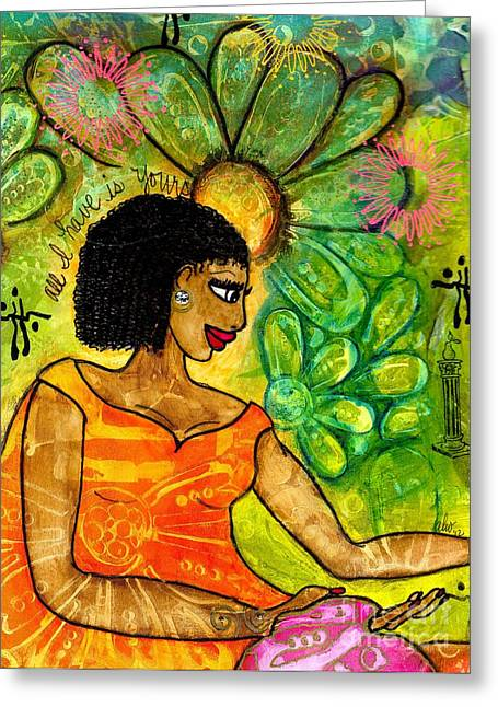 Survivor Art Greeting Cards - Open Arms Greeting Card by Angela L Walker