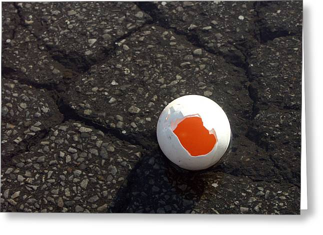 Open Broken Egg - View From Above Greeting Card by Matthias Hauser