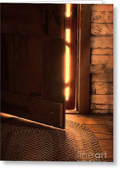 Rag Rug Greeting Cards - Open Cabin Door Greeting Card by Jill Battaglia