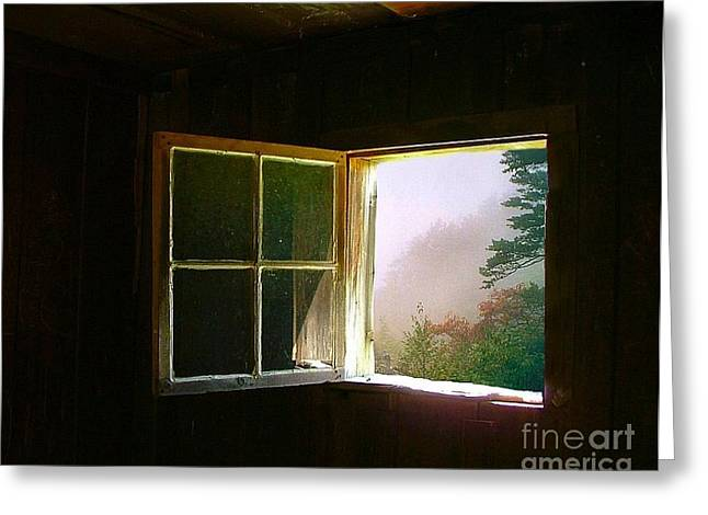Julie Dant Photographs Greeting Cards - Open Cabin Window in Spring Greeting Card by Julie Dant